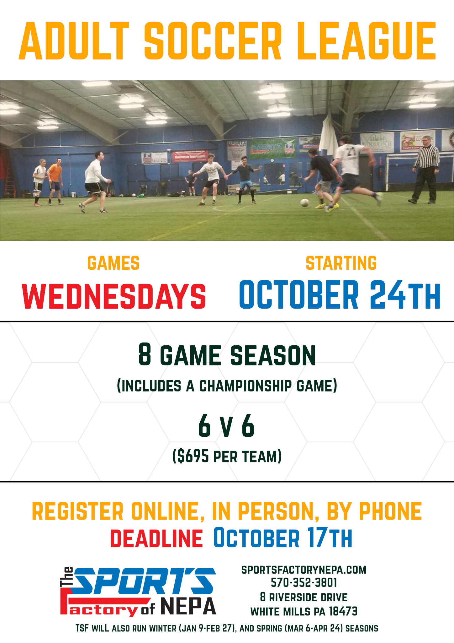 Adult Soccer League @ The Sports Factory of NEPA